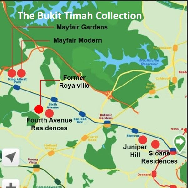 Location Map of 5 condos